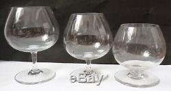 12 verres à pied en cristal de BACCARAT cognac alcool ancien verre glasses
