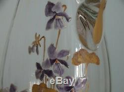 1 Ancienne Carafe Verrerie Legras Emaille Art Nouveau Decor Violettes Email & Or