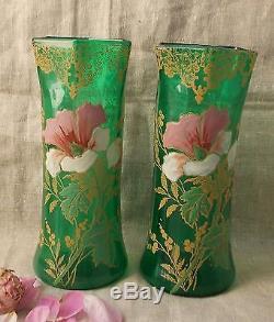 2 Anciens Vases Emailles Legras Non Signe