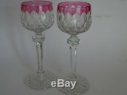 2 Anciens Verres A Vin Couleur Amethyste Roemer Cristal Baccarat Modele Juvisy