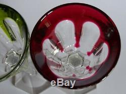 2 Anciens Verres A Vin Du Rhin Roemer Cristal Baccarat Rouge Mousse Harcourt
