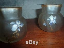 2 vases montjoye legras-anciens givrés gravés