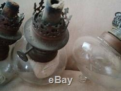 3 ancienne de toupies de piano identique réservoir de lampe à pétrole cristal