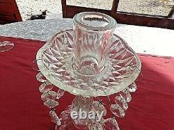 3 anciens bougeoirs à pampilles de table-verre et cristal-candélabres vintages