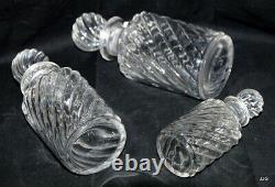 3 flacons baccarat cristal bambou ancien