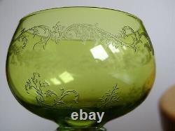 4 ANCIENS VERRES VIN ROEMER CRISTAL ST LOUIS MODELE MICADO ART NOUVEAU 16,5 cm