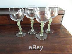 4 verres ancien cristal à vin Royale de champagne cariatide en couleur