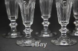 5 Verres Flutes Champagne Anciens Cristal Tailles Baccarat Saint Louis Caton