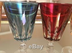 5 verres anciens Cristal De BACCARAT De Couleur/Baccarat Crystal XIX ème