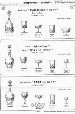 6 ANCIENS VERRES A EAU CRISTAL BACCARAT CATALOGUE 1916 Ht 15 cm
