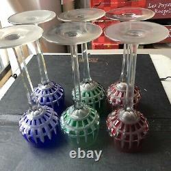 6 Ancien verre de couleur en cristal signé Saint Louis modèle Manhattan