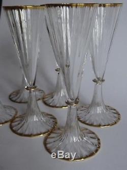 6 Anciennes Flutes A Champagne En Cristal Daum Bord Peigne Gold Or 19 Eme
