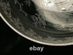 6 Anciennes coupes a champagne cristal gravé Baccarat décor floral papillon