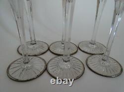 6 Anciens Verres A Liqueur Cristal Couleur Baccarat Lagny Rouge + Monture Argent