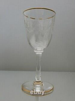 6 Anciens Verres A Pied Cristal Baccarat Modele Beauharnais Gold Catalogue 1916