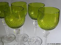 6 Anciens Verres A Vin Bordeaux Cristal Vert Chartreuse Belle Qualite