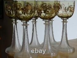 6 Anciens Verres A Vin Roemer Art Nouveau Design Fritz Heckert