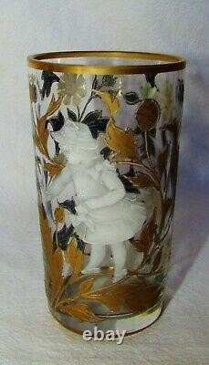 6 VERRES ANCIENS EMAILLES OR BLANC MARY GREGORY / 6 tumblers enameled gilted
