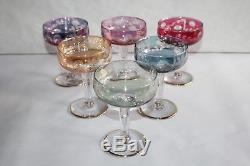 6 anciennes coupes à champagne en verre de Murano ou autre, gravées et colorées