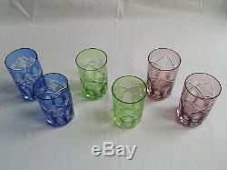 +++ 6 anciens gobelets verre a thé couleur bohème +++