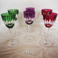 6 anciens verres ROEMERS en CRISTAL DE BACCARAT couleur estampillés mod CASSINO