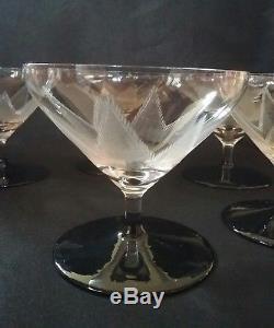 6 anciens verres flutes a champagne art deco soufflée taillée pied couleur daum