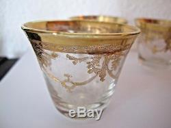 6 verres anciens en cristal taillé doré à l'or fin cave à liqueur