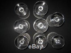 7 Verres à vin rouge en cristal de Baccarat modèle Rohan ancien an 31-36 T. B. E