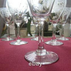 7 verres a vin ancien en cristal de baccarat gravé H 13,5 cm