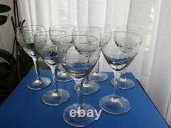 8 Anciens Verres A Vin Roemer Table Cristal Grave De Saint Louis & Baccarat H. 15