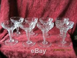 8 Coupes A Champagne Champenoises Anciennes En Cristal De Baccarat 1880