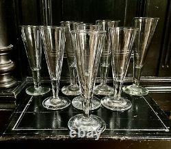 8 Flûtes A Champagne Anciennes Premier Empire Cristal Soufflé