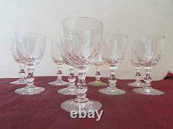 8 anciens verres a vin cristal de baccarat modele ecailles epoque 19 eme