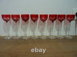 8 rare grands verres anciens à liqueur Saint Louis Massenet 16,5 cm