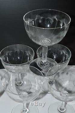 9 ANCIENNES COUPES à CHAMPAGNE Verre Cristalin décor CHARDONS GRAVES déco Table