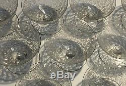 9 Coupes à champagne en cristal Baccarat Chateaubriand gravure Rohan anciennes