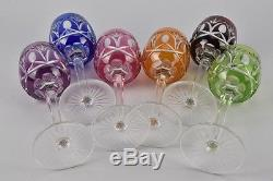 ANCIENNE 6 VERRES A VIN EN CRISTAL DOUBLE TAILLE VAL ST LAMBERT crystal glasses