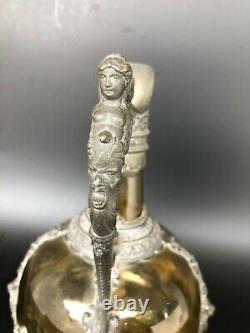 ANCIENNE AIGUIERE STYLE RENAISSANCE ETAIN ET VERRE VERT 19th