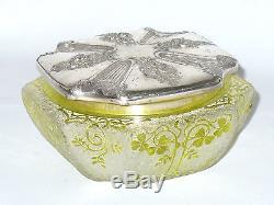 ANCIENNE Bonbonniere Cristal Baccarat Degage A l'Acide Monture Gallia XIX 1900