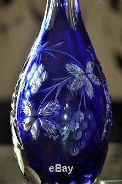 ANCIENNE CARAFE TRAUBE Cristal Taillé Double De Couleur BOHEME