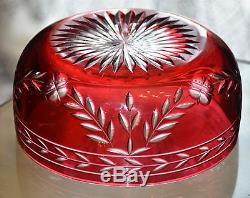 ANCIENNE COUPE SALADIER Cristal de couleur double couche taille Baccarat EMPIRE