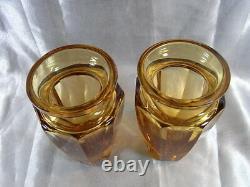 ANCIENNE PAIRE DE VASE signé MOSER CRISTAL TAILLE FUME ORANGE GLASS parfait état