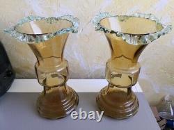 ANCIENNE PAIRE de GRANDS VASES VERRE JAUNE SAND PORTIEUX XIXème 2 GLASS VASES