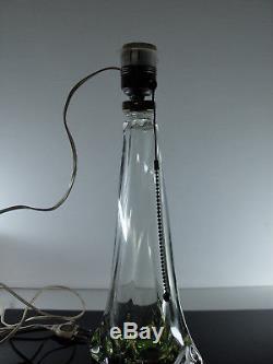 ANCIENNE PIED DE LAMPE CRISTAL SOUFFLE COULEUR VAL ST LAMBERT SIGNE H37cm VERT