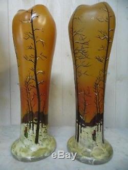 ANCIENS VASES ÉMAILLÉS (LEGRAS) hauteur 41 cm