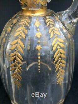 ANCIEN CARAFON CRISTAL BACCARAT + 2 GOBELETS FIN 19ème STYLE LOUIS XVI