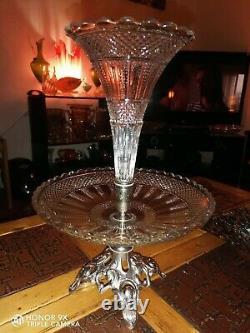 ANCIEN CENTRE DE TABLE EN CRISTAL val St lambert VASE/COUPE A FRUIT/TULIPIER