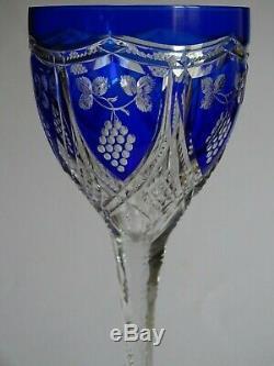 ANCIEN GRAND VERRE A VIN COULEUR ROEMER CRISTAL ST LOUIS MODELE 448 bleu cobalt