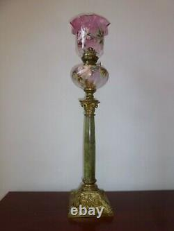 ANCIEN LAMPE A PÉTROLE VERRE ÉMAILLÉ XIXe LAMP OIL SHADE GLASS ENAMEL PINK 19TH