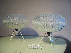 ANCIEN PAIRE 2 LAMPE TRIPODE TABLE DESIGN 1960 70 GLOBE effet CRISTAL space age